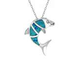 Sterling Silver Simulated Blue Opal Inlay Dolphin Pendant style: 9254404