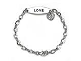 Love Sterling Silver ID Charm Bracelet with Cubic Zirconia (CZ) style: 9254487L