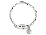 Peace Sign Sterling Silver ID Charm Bracelet with Cubic Zirconia (CZ) style: 9254487
