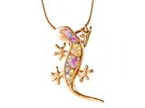 Rose Gold Over Sterling Silver Lizard Pendant with Created Pink Opal Inlay
