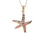 Large Rose Gold Over Sterling Silver Sealife Starfish Pendant with Created Pink Opal Inlay