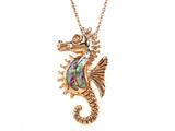 Rose Gold Over Sterling Silver Sealife Seahorse Pendant with Created Pink Opal Inlay style: 9255665