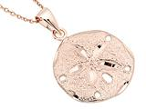 Large Rose Gold Over Sterling Silver Sand Dollar Pendant With Cable Chain