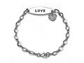 Love Sterling Silver ID Charm Bracelet with Cubic Zirconia (CZ)