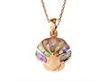 Rose Gold Over Sterling Silver Sealife Seashell Pendant with Created Pink Opal Inlay