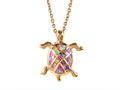 Rose Gold Over Sterling Silver Sealife Turtle Pendant with Created Pink Opal Inlay