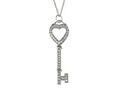 Large Sterling Silver Key Pendant With Cubic Zirconia (CZ)