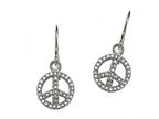 Peace Sign Sterling Silver ID Charm Bracelet with Cubic Zirconia (CZ) Style number: 9257393
