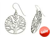 Polished Tree in Circle Sterling Silver Earrings style: 92510121