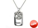 Peace Sign Sterling Silver Pendant With Dog Tag and Cubic Zirconia (CZ)