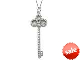 Large Sterling Silver Key Pendant With Cubic Zirconia (CZ) style: 9256511