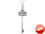 Large Sterling Silver Key Pendant With Cubic Zirconia (CZ) style: 9256514