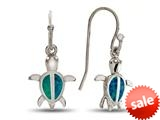 Sterling Silver Simulated Blue Opal Inlay Turtle Earrings style: 9257752