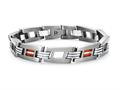 Tonino Lamborghini Corsa Collection Stainless Steel Bracelet with Red and White Crystal Stones