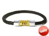 Tonino Lamborghini Anima Leather Black Cable Bracelet with Stainless Steel and Yellow Plated Center Piece