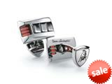 Tonino Lamborghini Stainless Steel Cufflinks with Three Red Crystal Stones