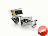 Tonino Lamborghini Stainless Steel Cufflinks with Three Yellow Crystal Stones