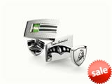 Tonino Lamborghini Stainless Steel Cufflinks with Green and White Crystal Stones style: TCL005014