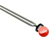 Tonino Lamborghini Spyder Collection Stainless Steel Black Pendant with White Crystal Stones