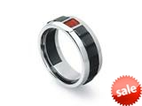 Tonino Lamborghini Primo Collection Stainless Steel Ring with Three Red Crystal Stones
