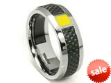 Tonino Lamborghini Stainless Steel Ring with Yellow Crystal Stone