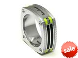 Tonino Lamborghini Stainless Steel Carbon Fiber Ring with Green Crystal Stones