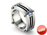 Tonino Lamborghini Stainless Steel Carbon Fiber Ring with Blue Crystal Stones
