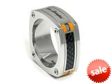 Tonino Lamborghini Stainless Steel Carbon Fiber Ring with Orange Crystal Stones