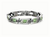 Tonino Lamborghini Corsa Collection Stainless Steel Bracelet with Green and White Crystal Stones