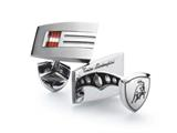 Tonino Lamborghini Stainless Steel Cufflinks with Red and White Crystal Stones