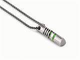 Tonino Lamborghini Corsa Collection Stainless Steel Pendant with Green and White Crystal Stones