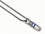Tonino Lamborghini Corsa Collection Stainless Steel Pendant with Carbon Fiber and Blue Crystal Stones