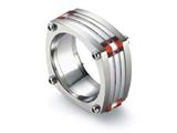 Tonino Lamborghini Corsa Collection Stainless Steel Ring with Red and White Crystal Stones