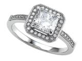 Zoe R 925 Sterling Silver Micro Pave Hand Set Cubic Zirconia (CZ) Princess Cut Center Engagement Ring