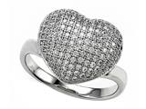 Zoe R™ 3D Sterling Silver Micro Pave Hand Set Cubic Zirconia (CZ) Heart Ring style: BM10257