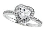 Zoe R™ 925 Sterling Silver Micro Pave Hand Set Cubic Zirconia (CZ) Heart Shape Center Engagement Ring style: BM10374