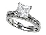 Zoe R™ 925 Sterling Silver Micro Pave Hand Set Cubic Zirconia (CZ) Princess Cut Center Wedding Set style: BM10381