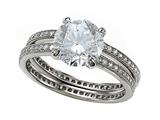 Zoe R Micro Pave Hand Set Cubic Zirconia (CZ) Eternity Wedding Set