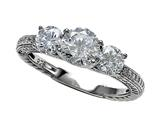 Zoe R Sterling Silver Micro Pave Hand Set Cubic Zirconia (CZ) 3 Stone Engagement Ring