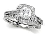 Zoe R™ 925 Sterling Silver Micro Pave Hand Set Cubic Zirconia (CZ)  Halo Cushion Cut Center Wedding Set