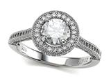 Zoe R 925 Sterling Silver Micro Pave Hand Set Cubic Zirconia (CZ) Round Engagement Ring