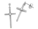 Zoe R 925 Sterling Silver Micro Pave Hand Set Cubic Zirconia (CZ) Medium Cross Earrings