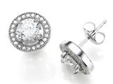 Zoe R™ 925 Sterling Silver Micro Pave Hand Set Cubic Zirconia (CZ) Round Earrings style: BM20428