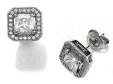 Zoe R™ 925 Sterling Silver Micro Pave Hand Set Cubic Zirconia (CZ) Square Earings style: BM20431