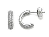 Zoe R 925 Sterling  Silver Micro Pave Hand Set Cubic Zirconia (CZ) Three Row Small Hoop Earrings