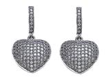 Zoe R 3D Sterling Silver Micro Pave Hand Set Cubic Zirconia (CZ) Heart Earrings