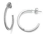 Zoe R 925 Sterling Silver Micro Pave Hand Set Cubic Zirconia (CZ) One Row Medium Hoop Earrings