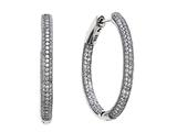 Zoe R™ 3D Sterling Silver Micro Pave Hand Set Cubic Zirconia (CZ) Large Hoop Earrings