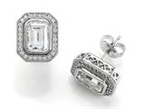 Zoe R 925 Sterling Micro Pave Hand Set Cubic Zirconia (CZ) Emerald Cut Center Earrings