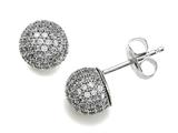 Zoe R 925 Sterling Silver Micro Pave Hand Set Cubic Zirconia (CZ) Ball Earrings